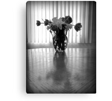 Tulips & Daffodils in Black & White Canvas Print