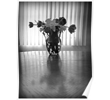 Tulips & Daffodils in Black & White Poster