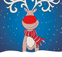 Christmas red nosed reindeer in the snow by Sarah Trett