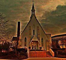 St Joseph's Church, Mendham NJ in sunset golden glow; carpenter Gothic built 1853 by Jane Neill-Hancock