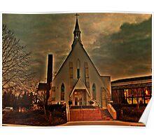 St Joseph's Church, Mendham NJ in sunset golden glow; carpenter Gothic built 1853 Poster