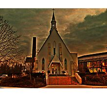 St Joseph's Church, Mendham NJ in sunset golden glow; carpenter Gothic built 1853 Photographic Print