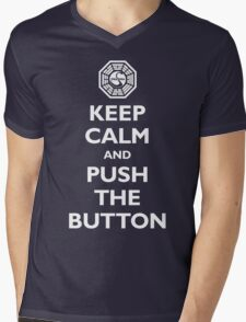 Keep calm and push the button (Every 108 minutes) Mens V-Neck T-Shirt
