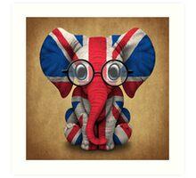 Baby Elephant with Glasses and Union Jack British Flag Art Print