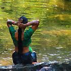 After the River Bathing. Indian Woman. Impressionism by JennyRainbow