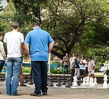 chess in the park by Anne Scantlebury