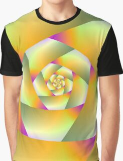 Yellow Pink and Green Spiral Graphic T-Shirt