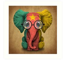 Baby Elephant with Glasses and Cameroon Flag Art Print