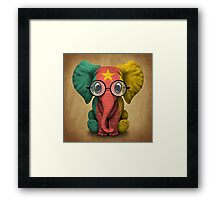 Baby Elephant with Glasses and Cameroon Flag Framed Print