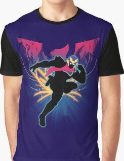 Super Smash Bros. Blue Captain Falcon Silhouette Graphic T-Shirt