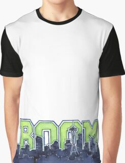 Seattle Skyline 12th Man Legion of Boom Painting Graphic T-Shirt