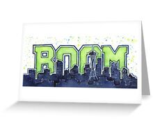 Seattle Skyline 12th Man Legion of Boom Painting Greeting Card