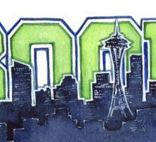 Seattle Skyline 12th Man Legion of Boom Painting Sticker