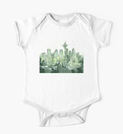 Seattle Watercolor Space Needle Skyline One Piece - Short Sleeve
