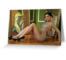 Pretty woman in vintage gown sitting on the floor Greeting Card