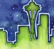 Seattle Night Skyline Watercolor Sticker