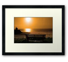 bench with golden sunset view Framed Print