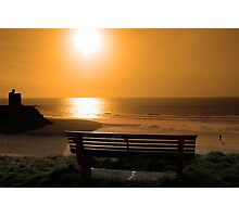 bench with golden sunset view Photographic Print
