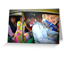 Family in Auto Rickshaw in Delhi, India Greeting Card