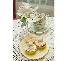 Three Vanilla Cupcakes Photographic Print