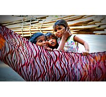 Children Play in a Hammock on Mumbai Streets Photographic Print