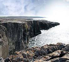 burren cliff edge view by morrbyte