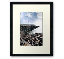 burren cliff edge view Framed Print