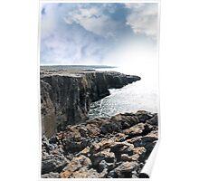 burren cliff edge view Poster