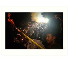 Fireworks at Temple festival, Marari, India Art Print