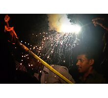 Fireworks at Temple festival, Marari, India Photographic Print
