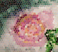 Stained glass look for Rose painting, watercolor by Anna  Lewis, blind artist