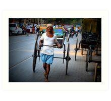 Human Rikshaw working in Calcutta, India Art Print