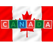 canada and flag in toy block letters Photographic Print