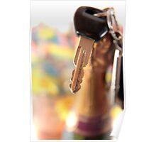 car keys and golden champagne bottle top Poster