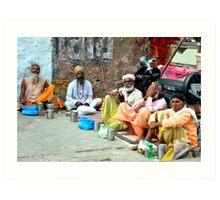 Pilgrims Wait for Donations, Haridwar, India Art Print
