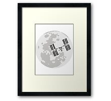 ISS and the Moon Framed Print