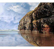 cliff reflection on ballybunion beach Photographic Print