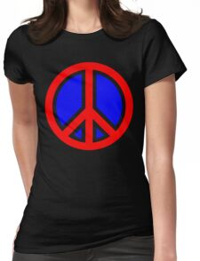 Red, White, and Blue Peace Sign Womens Fitted T-Shirt