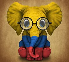 Baby Elephant with Glasses and Colombian Flag by Jeff Bartels