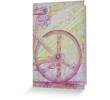 Back Biking with Peace, Love, & Flowers Greeting Card