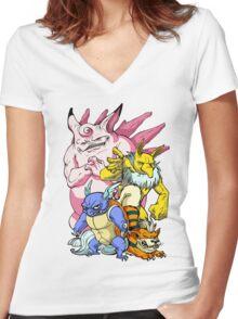 Pokemon Aren't Cute in Battle Women's Fitted V-Neck T-Shirt