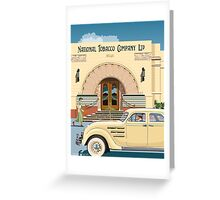 Art Deco Napier Tobacco Building with Chrysler Airflow Greeting Card