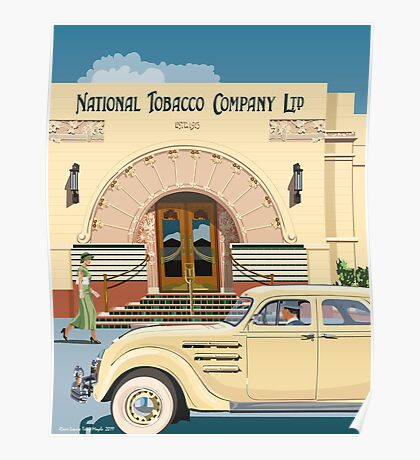 Art Deco Napier Tobacco Building with Chrysler Airflow Poster