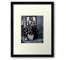 madonna and child,pot plant and dog bowl Framed Print