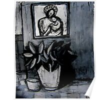 madonna and child,pot plant and dog bowl Poster