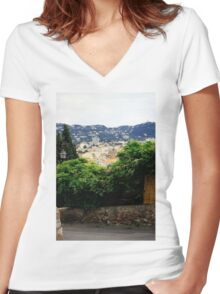 Cannes France city view scenery Women's Fitted V-Neck T-Shirt