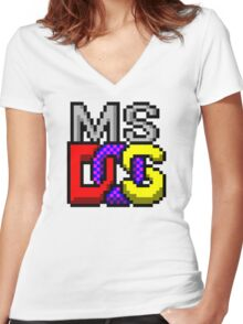 MS-DOS Icon Retro Pixel Computer Symbol Women's Fitted V-Neck T-Shirt