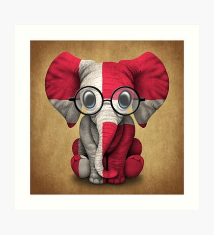 Baby Elephant with Glasses and Danish Flag Art Print