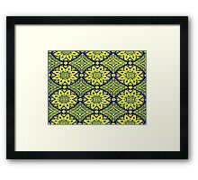Bright Navy Blue with Yellow Snowflake Framed Print