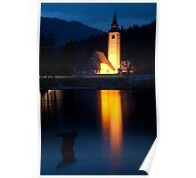 Church at dusk Poster